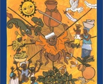 The image is an illustration for the book cover of The Pot of Wisdom. Ananse stories. In the center of the picture there is Ananse in a cobweb: half human, half spider. Around Ananse there are items and people linked to the stories, like f.ex. images of women carrying pots on their head, a group of men, a child in a yellow dress with a banana in the hand, a white bird with a feather in its beak, a honey pot and bees, the sun and a lizard.